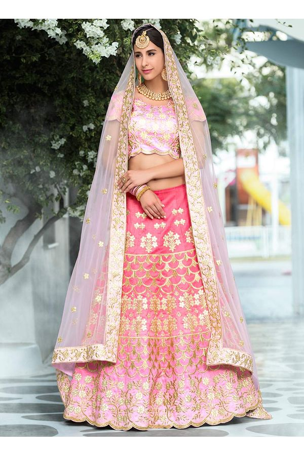 Light Pink Gotta Patti Work Art Silk Bridal Lehenga