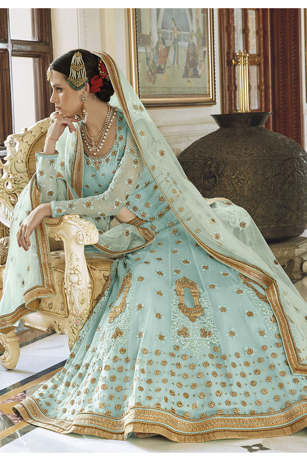 Light Blue Net Lehenga with Cape and Jacket