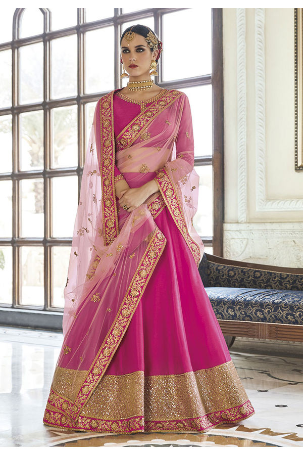 Fuchsia with Peach Color  Designer Anarkali Lehenga