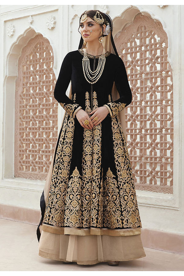 Black Velvet with Long Choli  Designer Net Lehenga