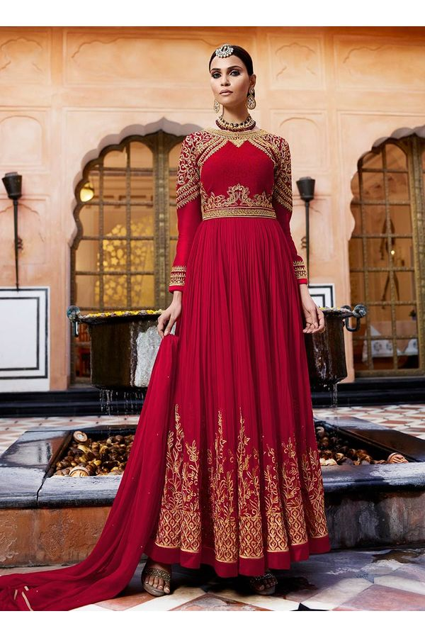 Maroon Georgette  Long and Heavy  Anarkali Dress