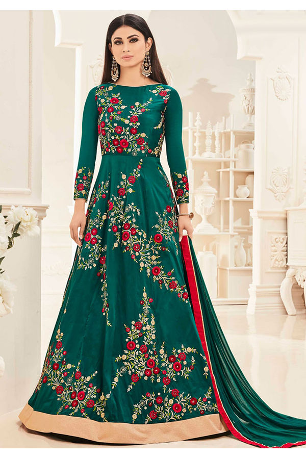 Mouni Roy Green Long Anarkali Salwar Suit with Resham Thread Work