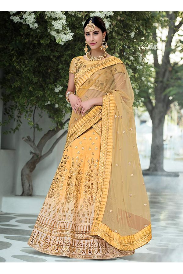 Mustard Yellow  Gotta Patti Work Art Silk Bridal Lehenga