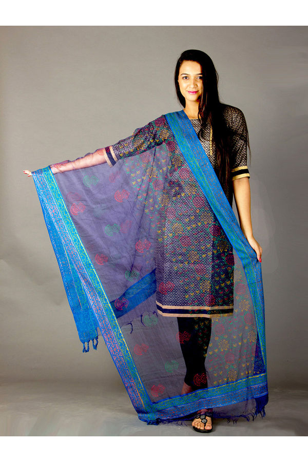 Dee's Alley Blue Hand Painted Organza Dupatta