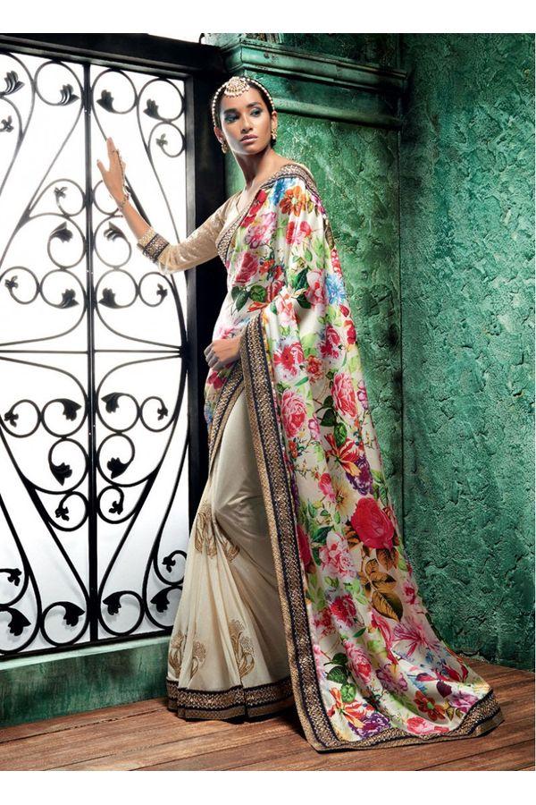 Multi Color Half n Half Floral Printed Designer Saree