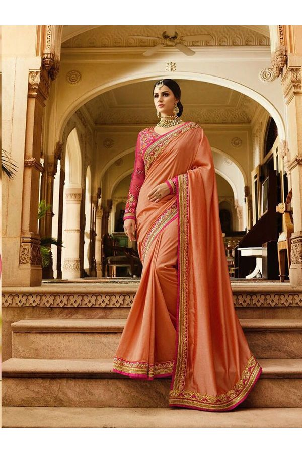 Peach Art Silk Designer Saree with Heavy Embroidered Blouse