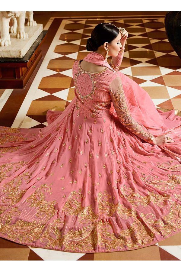 Pink Georgette Layered Lehenga Anarkali
