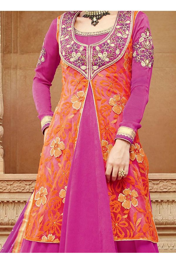 Pink and Orange Long Lehenga Anarkali Suit with Jacket