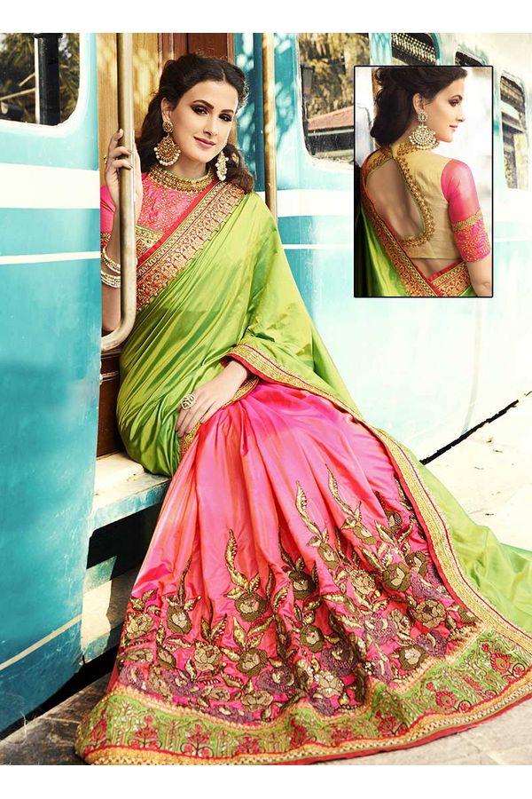 Pink & Green Embroidered Designer  Saree