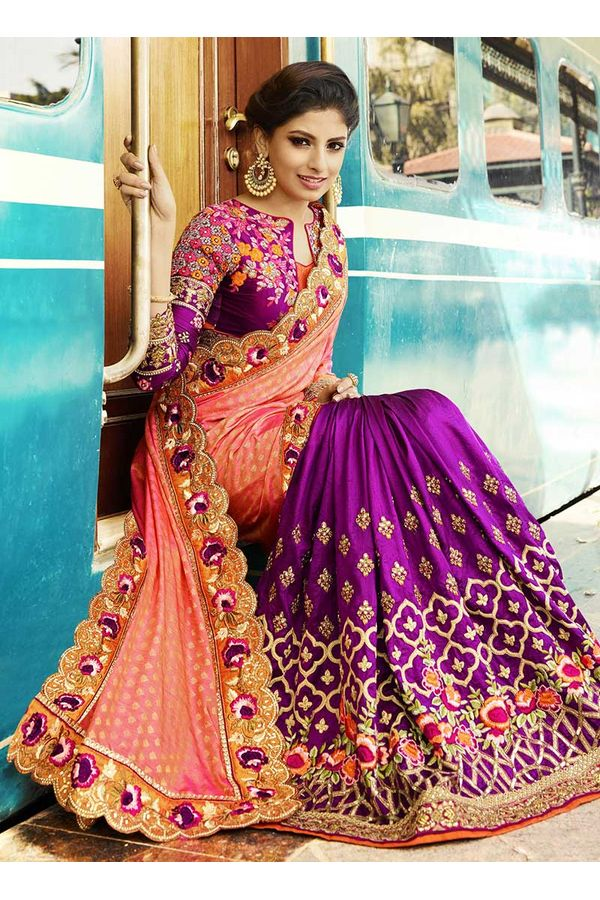 Peach and  Purple Heavily Embroidered  Designer Designer Saree