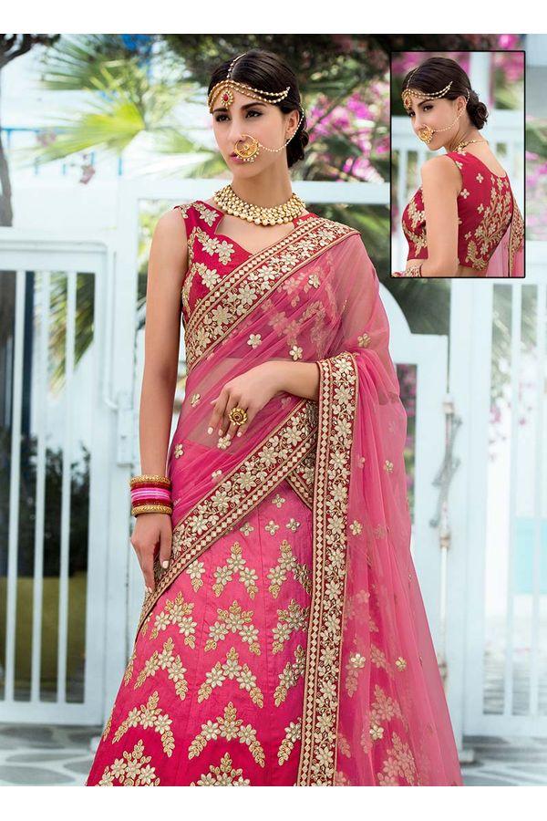 Pink Ombre Art Silk Bridal Lehenga