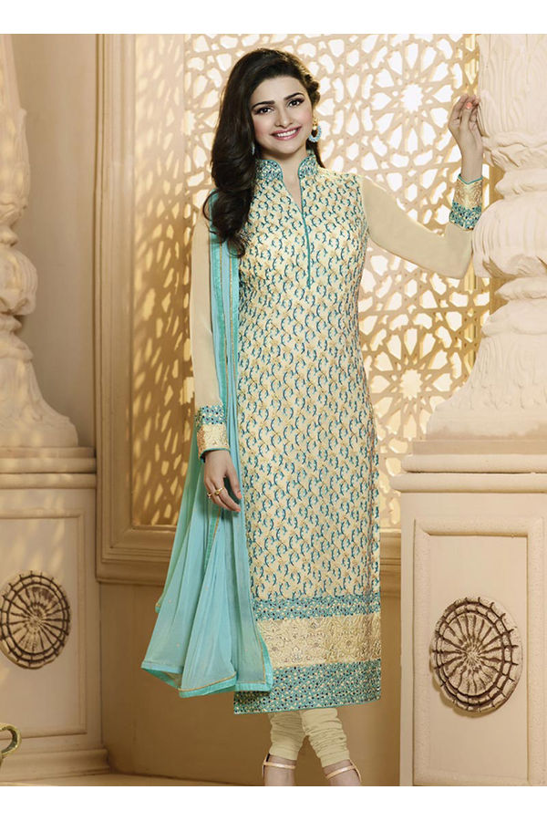 Prachi Desai  Blue Cream Georgette straight suit 63