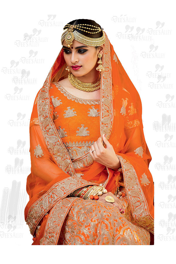 Orange Art Silk Lehenga Choli with Resham and Zari work