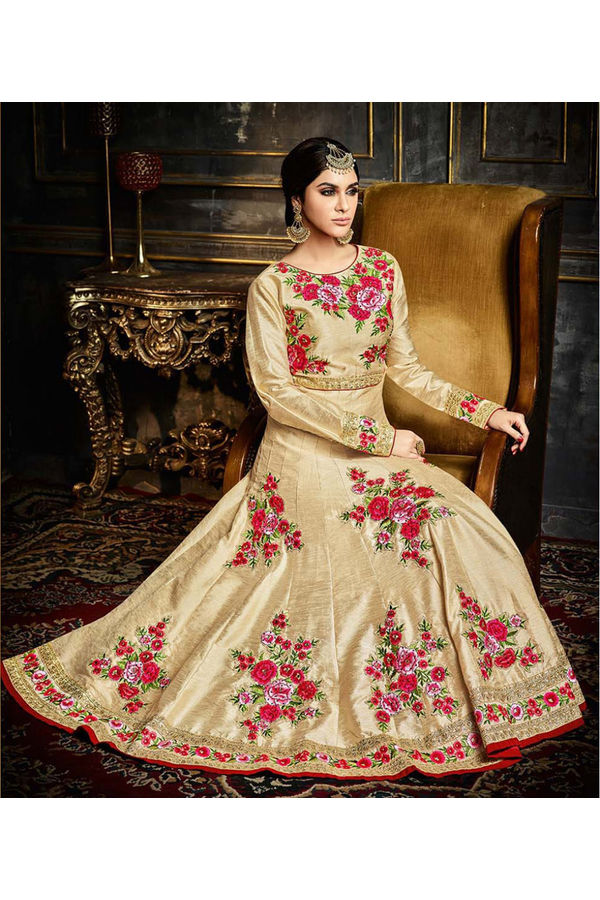 Cream Silk  Anarkali Suit with Embroidery