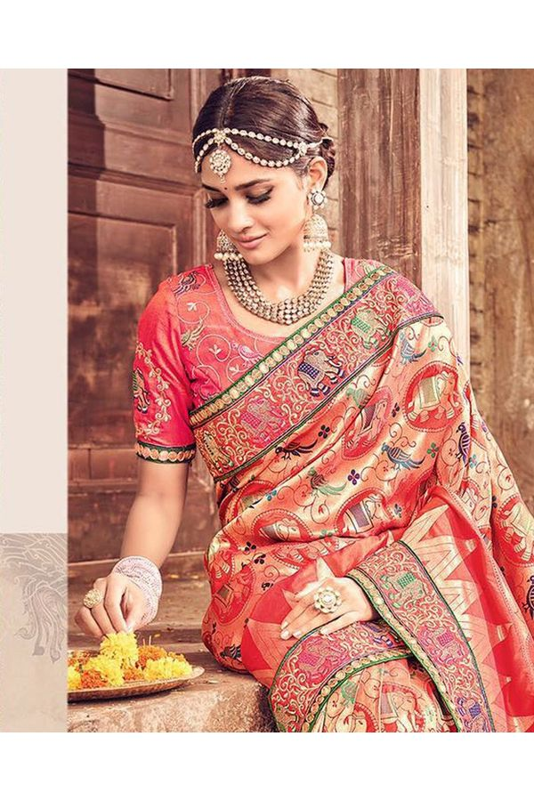 Banarasi Silk Wedding saree with Meenakari weave in Peach Color