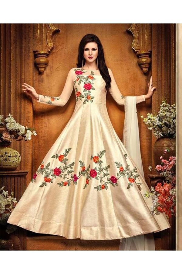 Cream Color Indowestern long Anarkali Gown Salwar Suit