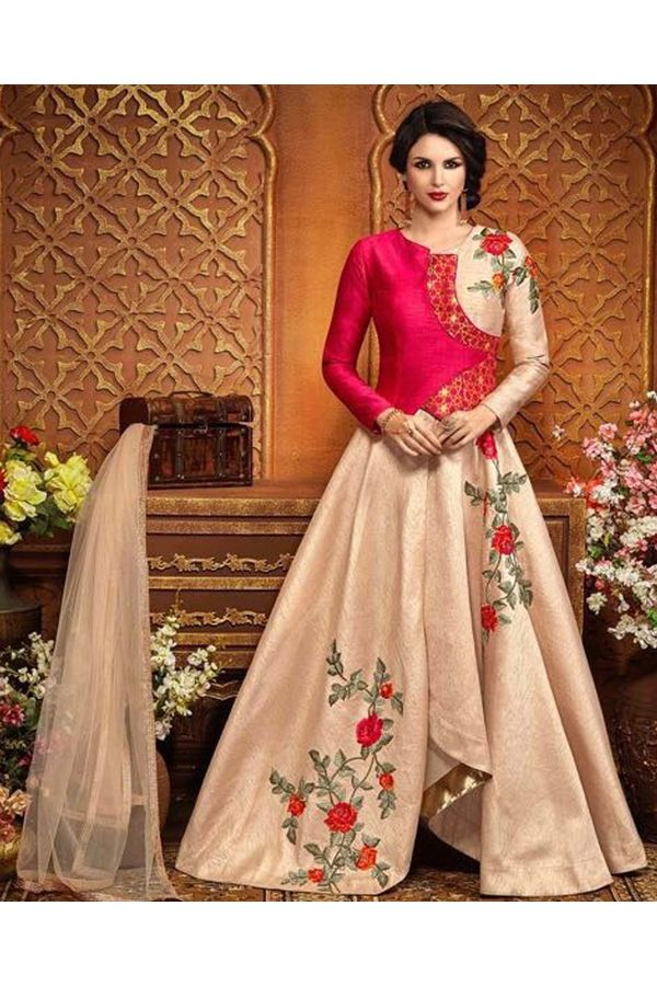 Graceful  Pink & Beige Floral Embroidered Silk Anarkali Gown Suit