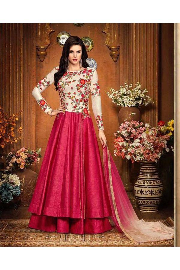Magenta Color Indowestern long Anarkali Gown Salwar Suit