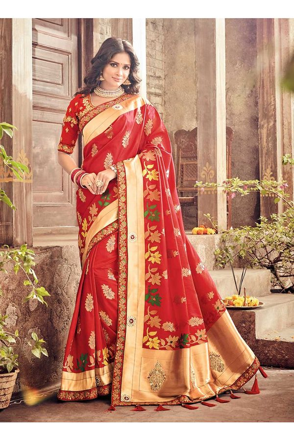 Banarasi Silk Wedding aree with Meenakari weave in Red Color