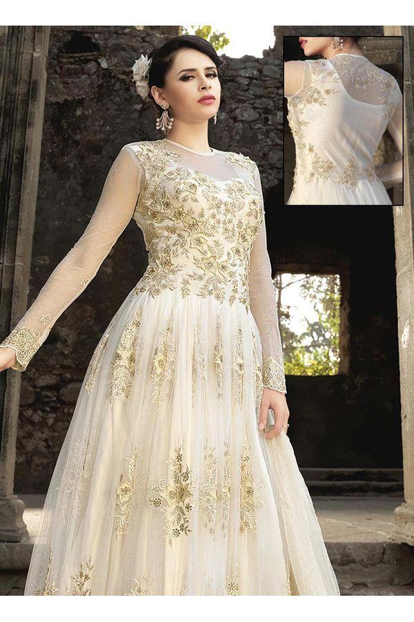 White Net  Indowestern Anarkali Gown Suit