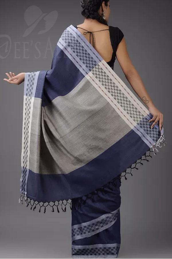 Dee's Alley  Blue with Grey Tussar Eri Silk Saree