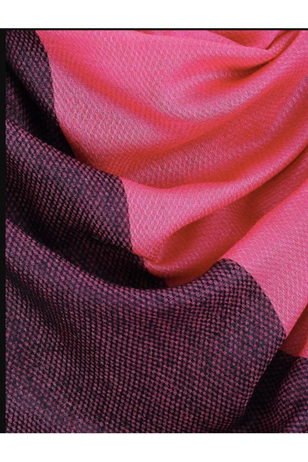 Dee's Alley  Pink-Black Eri Munga Silk Stole