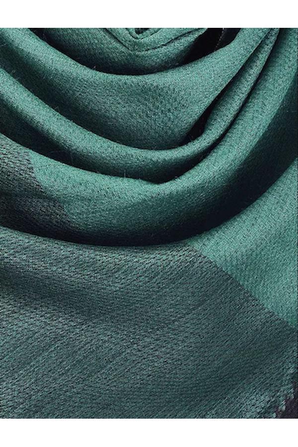 Dee's Alley  Green -Black Eri Munga Silk Stole
