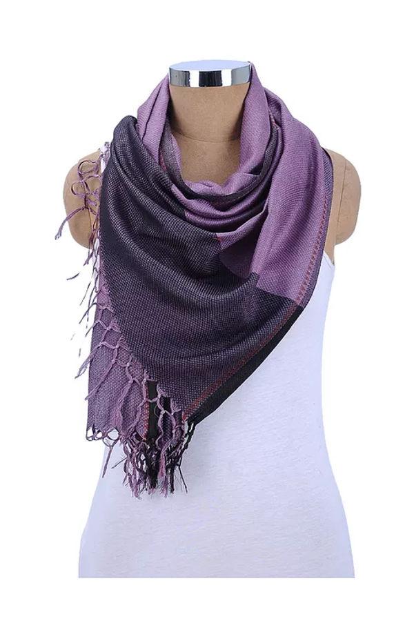 Dee's Alley Purple Beige Eri Munga Silk Stole