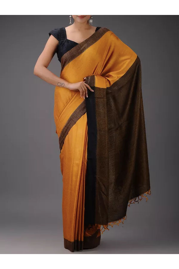 Dee's Alley Pure Eri-Tussar Silk Saree in Yellow Mustard Color