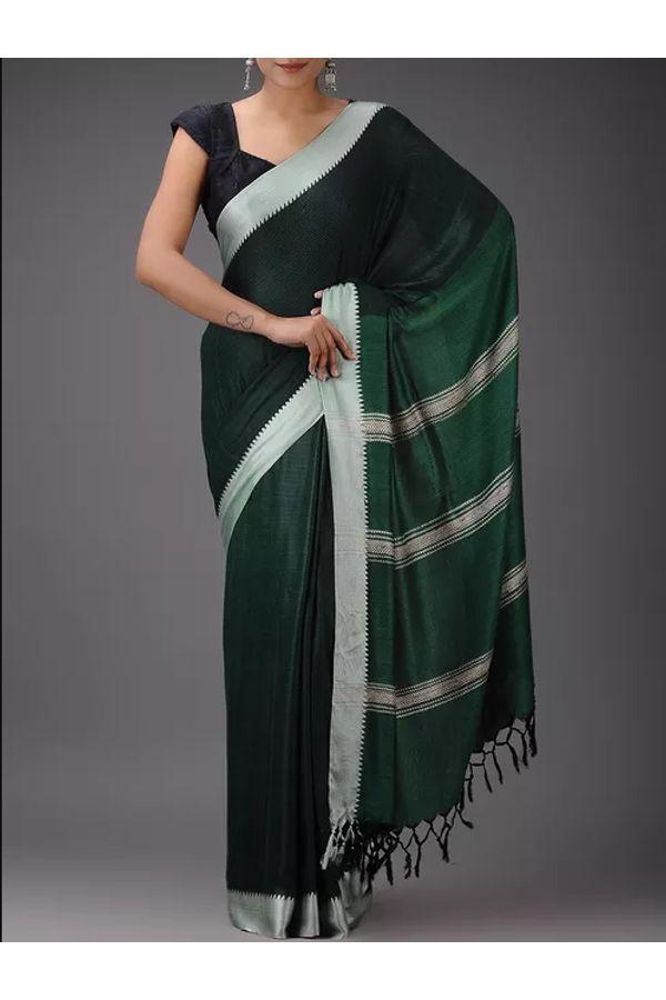 Dee's Alley Pure Eri-Tussar Silk Saree in Green Color