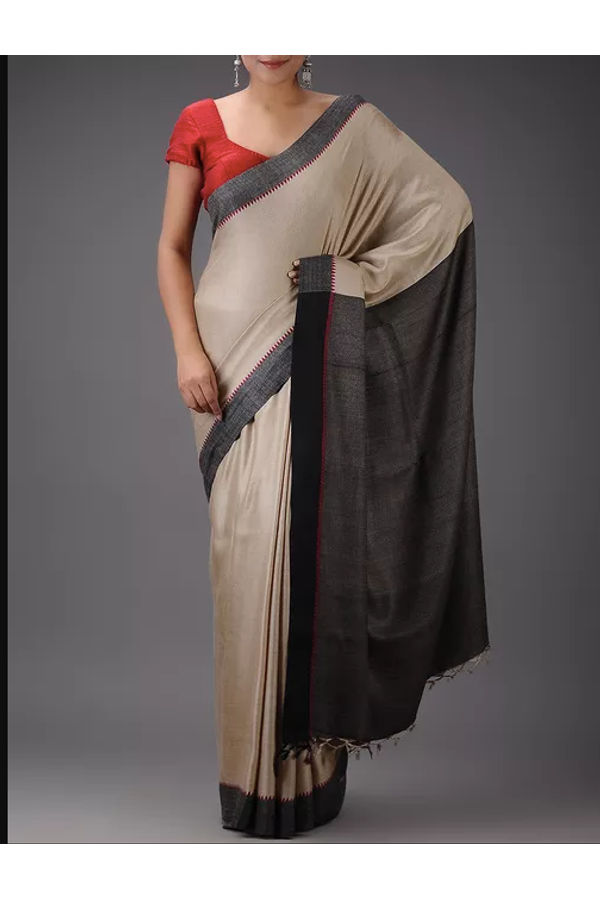 Dee's Alley Pure Eri-Tussar Silk Saree in Beige Color
