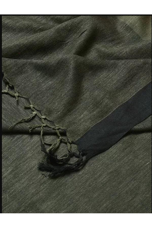 Dee's Alley Green Black Eri Munga Silk Dupatta