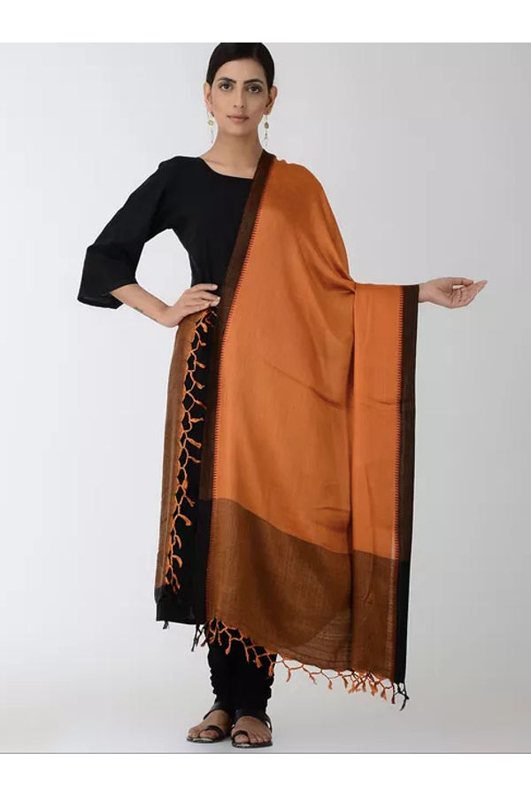 Dee's Alley Orange Black Eri Munga Silk Dupatta