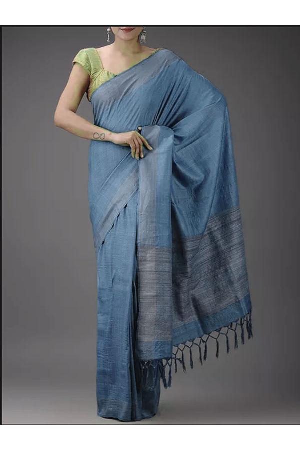Dee's Alley Blue Eri-Tussar Silk Saree with Ghicha Pallu