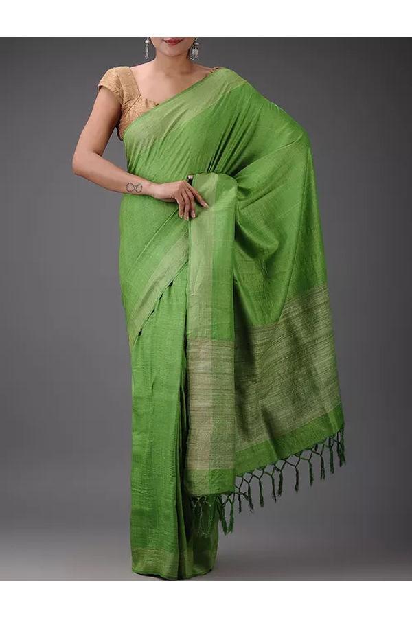 Dee's Alley Green Eri-Tussar Silk Saree with Ghicha Pallu