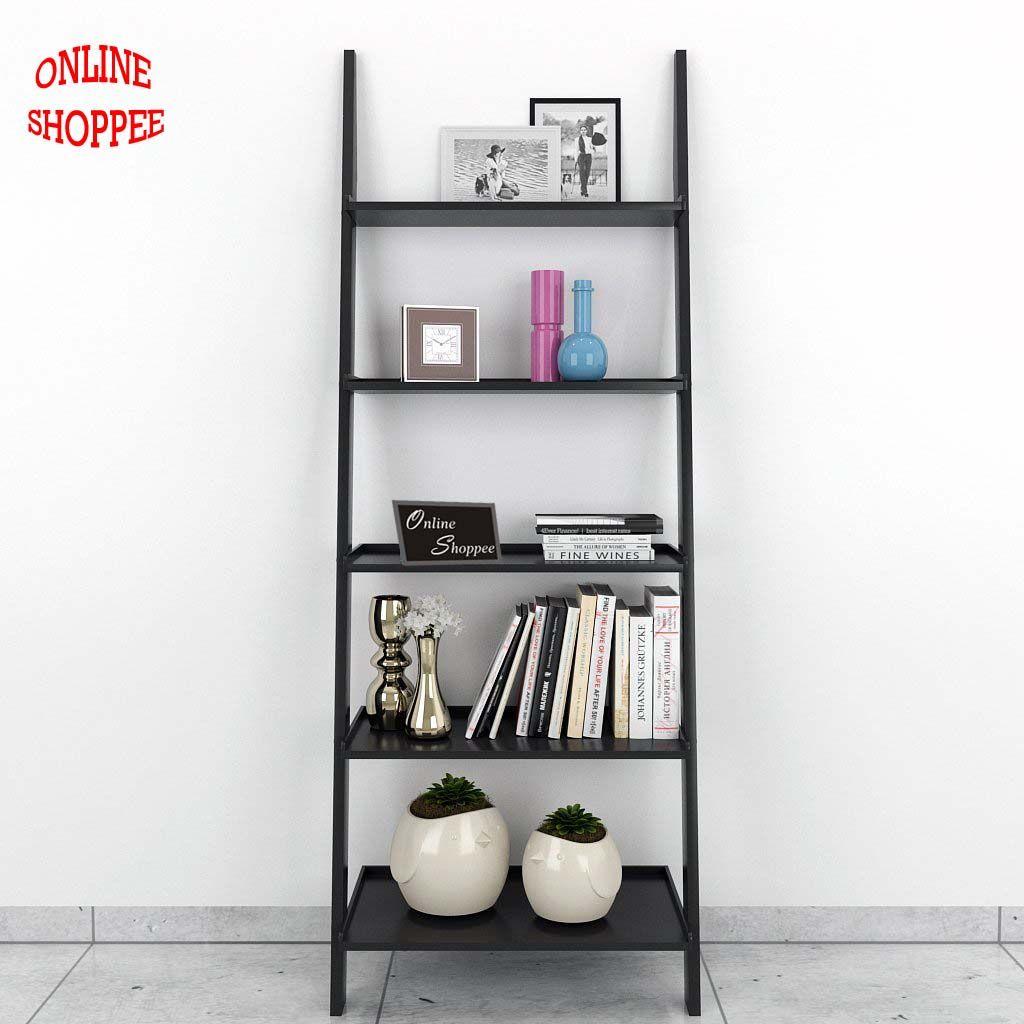 Onlineshoppee Leaning Bookcase Ladder and Room Organizer Engineered Wood Wall Shelf -Black. \u2039