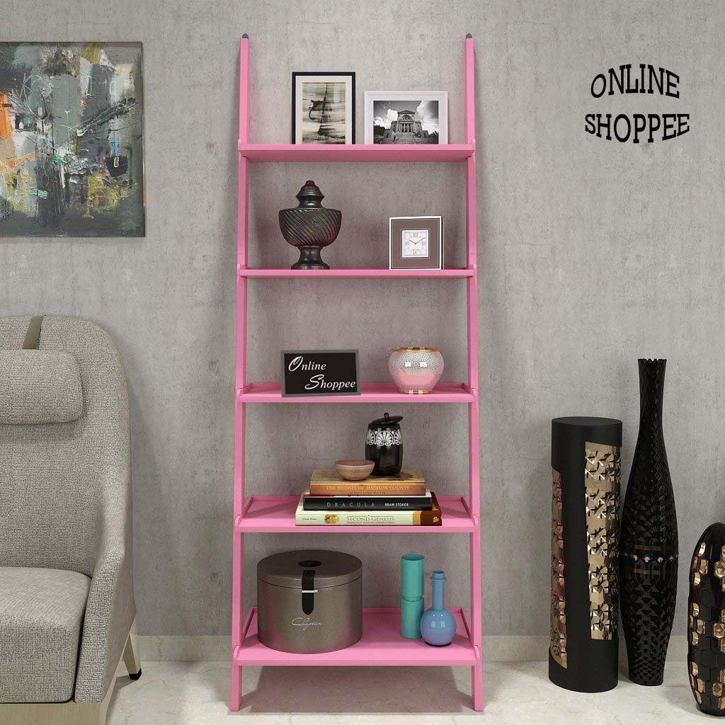 Onlineshoppee Leaning Bookcase Ladder and Room Organizer Engineered Wood Wall Shelf -Pink. \u2039