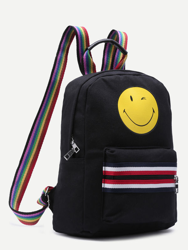 Smiley Zip Front Canvas Backpack With Rainbow Strap | Ssrwbag161104304