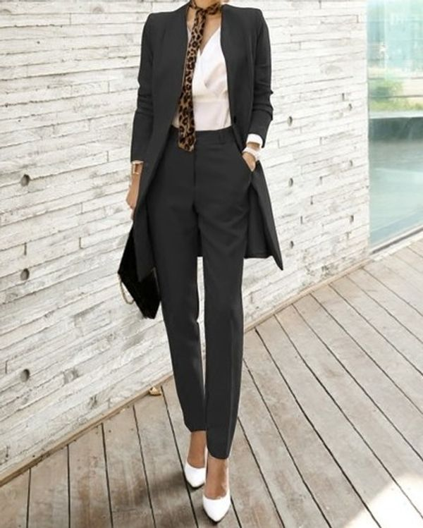 Slick Formal Office Wear Long Sleeve Solid Women Suit Blazer U0026 Pants