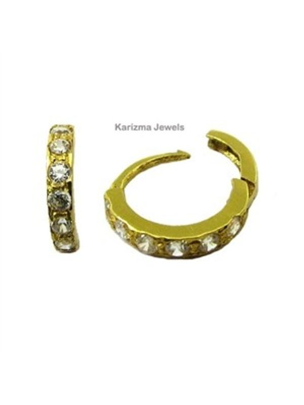 White Cz Studded Hinged Hoop Nose Ring Stud 14k Solid Real