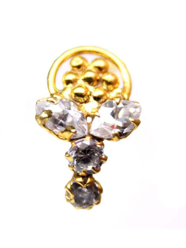 Ethnic White Cz Nose Stud Screw Nose Piercing Gold Plated Nose