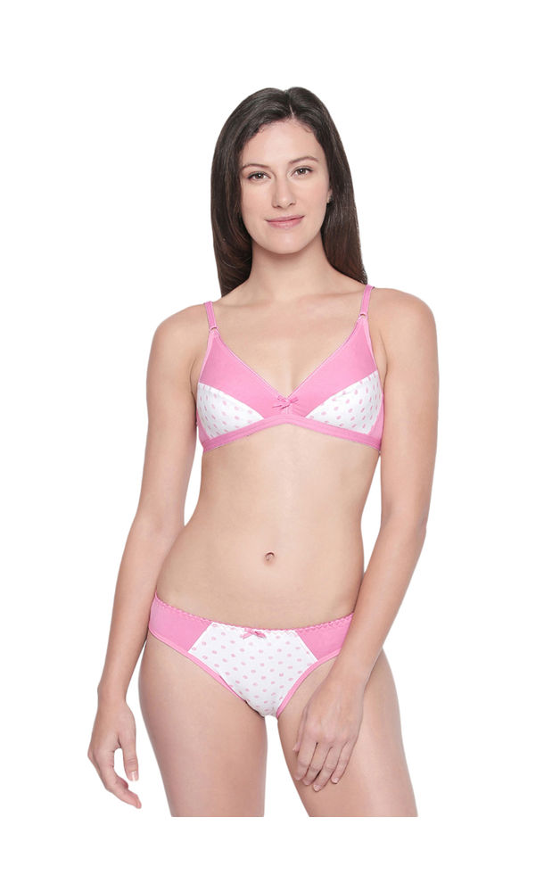 db5e56f3d BODYCARE Bridal Bra   Panty Printed Lingerie Set in Pink   White Colour -  6411PRT-