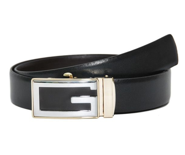Hidemark Black Brown Leather Belt For Men With Designer Auto Lock Buckle