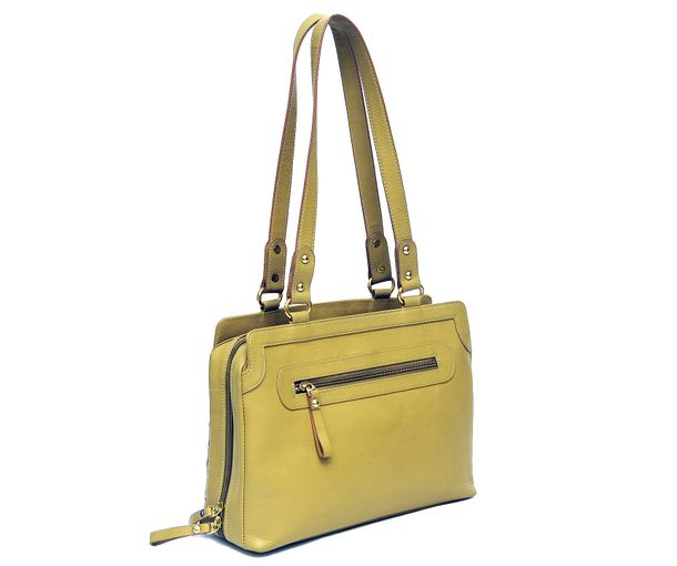 HIDEMARK HAND CRAFTED MESH PATTERN LEATHER HANDBAG- YELLOW. ‹ 938d1a398bc0e