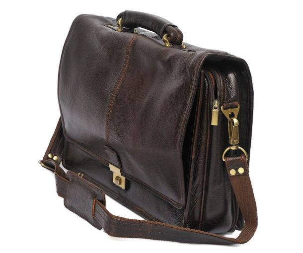 Hidemark Cut Flap Brown Leather Laptop Bag 16 Inch