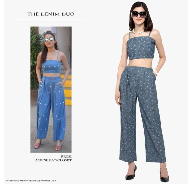 Embroidered Denim Crop Top  & Trousers