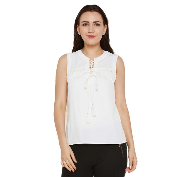 White Solid Top with Tie-up Neck