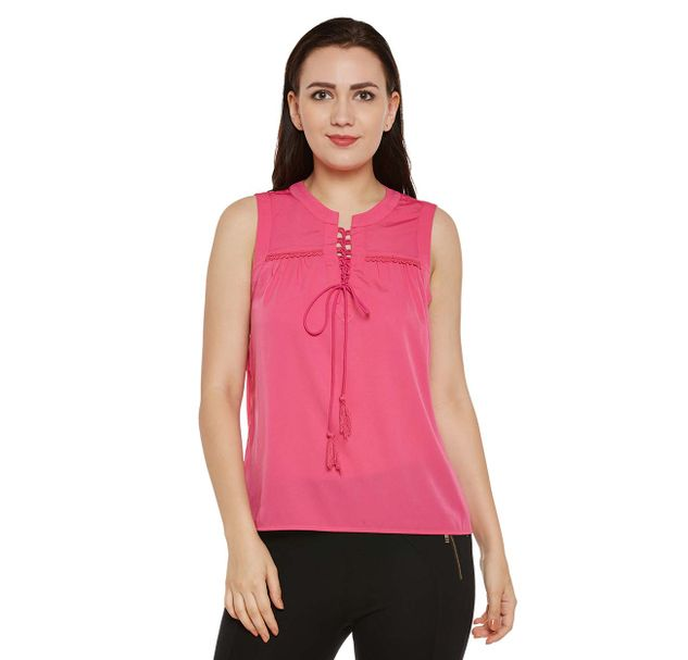 Pink Solid Top with Tie-up Neck