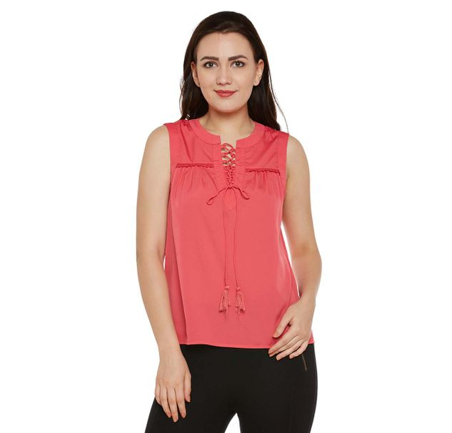 Red Solid Top with Tie-up Neck