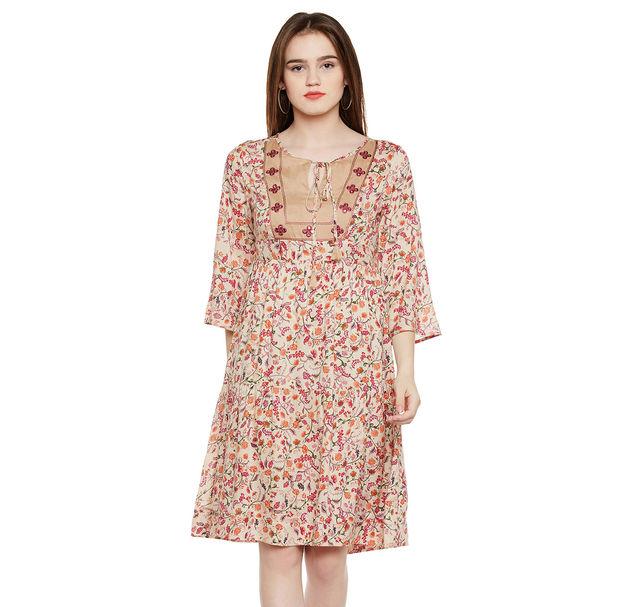 Floral Print Tie-up Dress